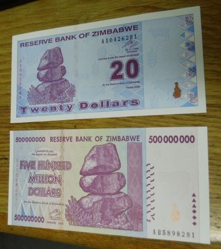 Bankbiljet 500 miljoen dollar zimbabwe
