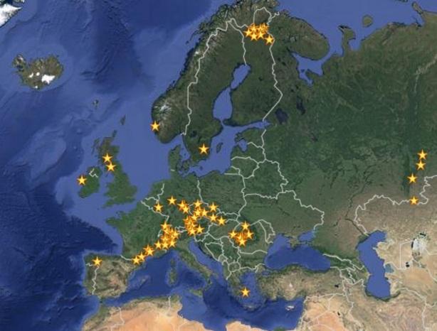 Goud zoeken mijnen in Europa kaart