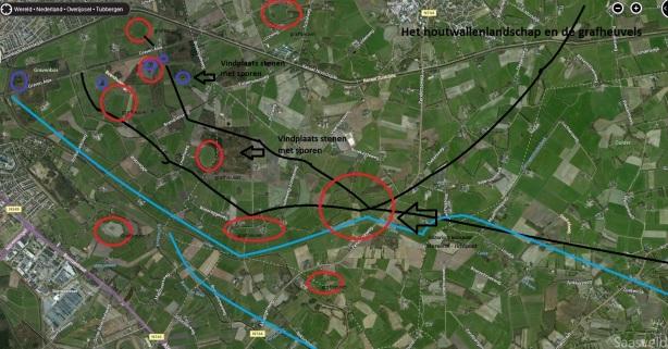 Kaart omgeving Almelo Albergen grafheuvels en handelswegen