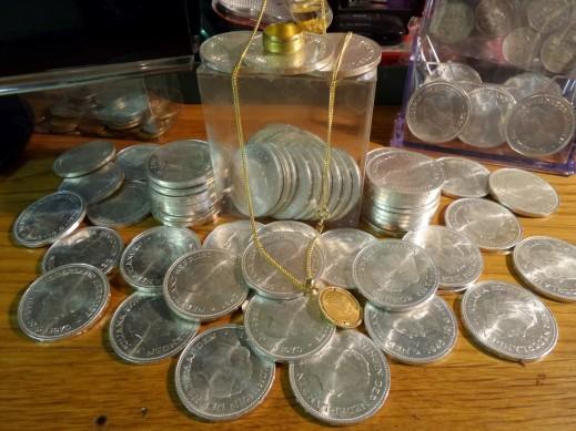 Zilveren en gouden munten Guldens