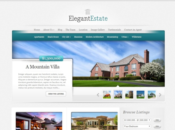 Elegant Estate goud - template - site - bubbel economie blog WordPress