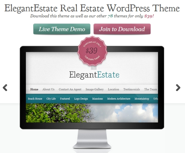 Elegant Estate real estate wordpress theme advertisement