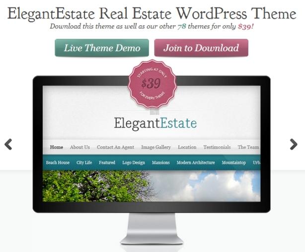 Elegant Estate real estate wordpress theme advertisement