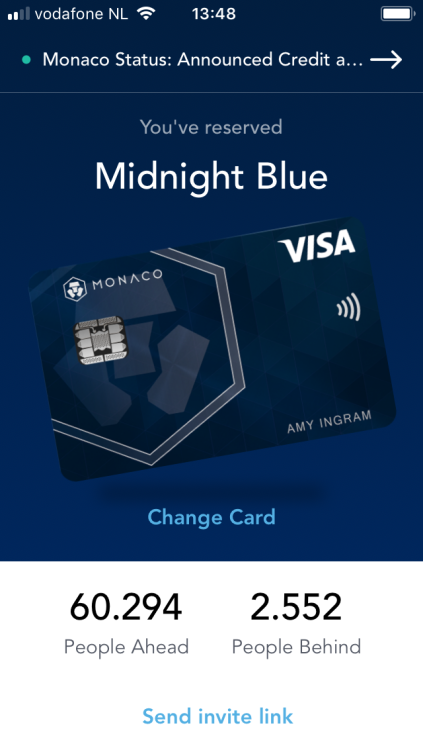 Monaco crypto card debit credit kaart